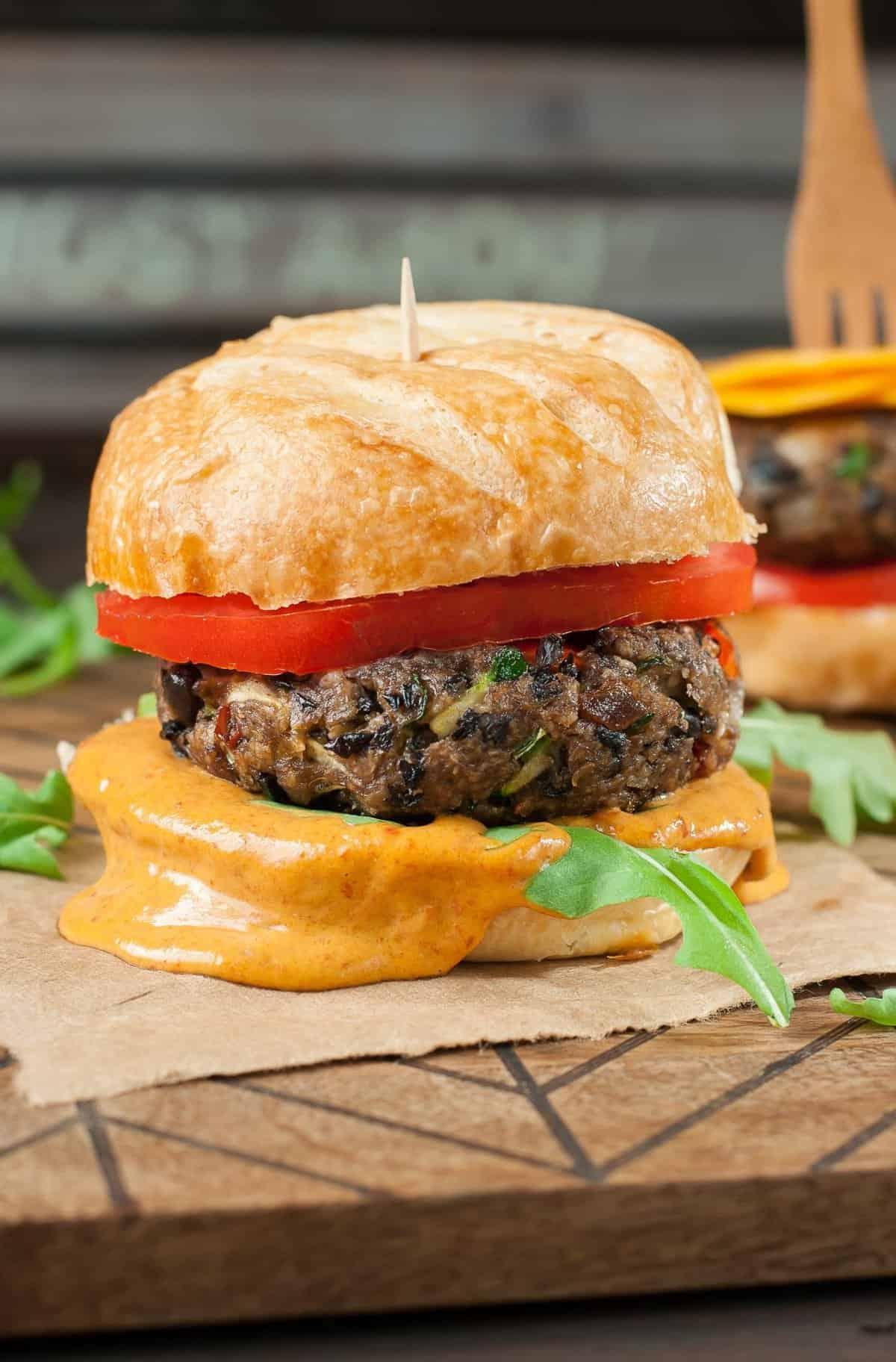homemade-smoky-black-bean-veggie-burgers-chipotle-honey-mustard-recipe-PEASandCRAYONS-5177
