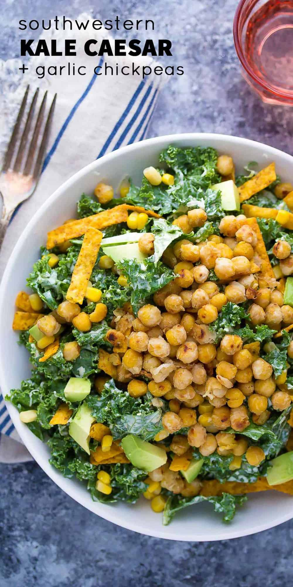 Southwestern Kale Chickpea Salad with Greek Yogurt Caesar Dressing, an easy 30 minute dinner recipe!