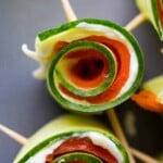 smoked salmon cucumber roll ups on skewers