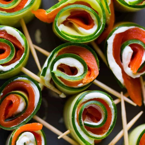 10 smoked salmon cucumber roll ups on skewers