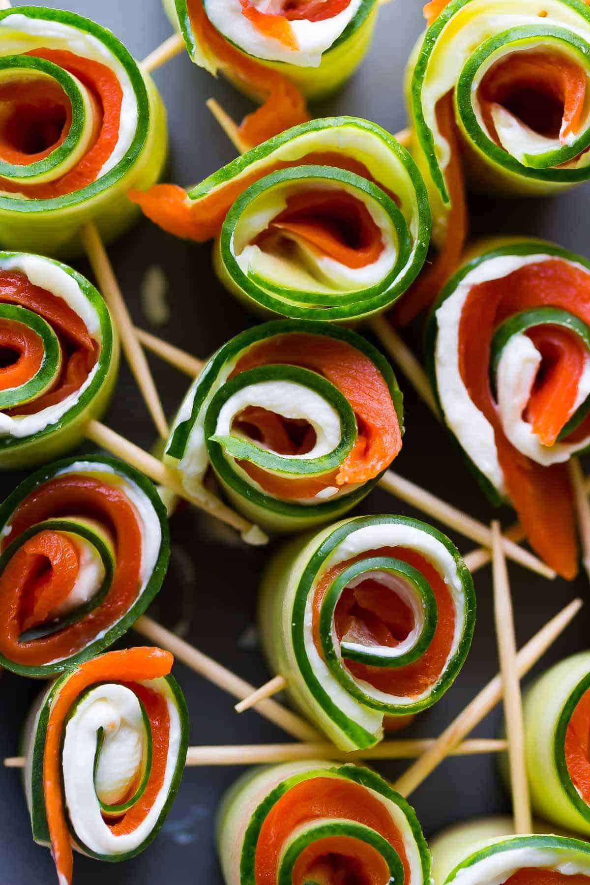 These smoked salmon cucumber roll-ups are the perfect (healthier) last-minute party appetizer! Gluten-free, low carb and only 3 ingredients!