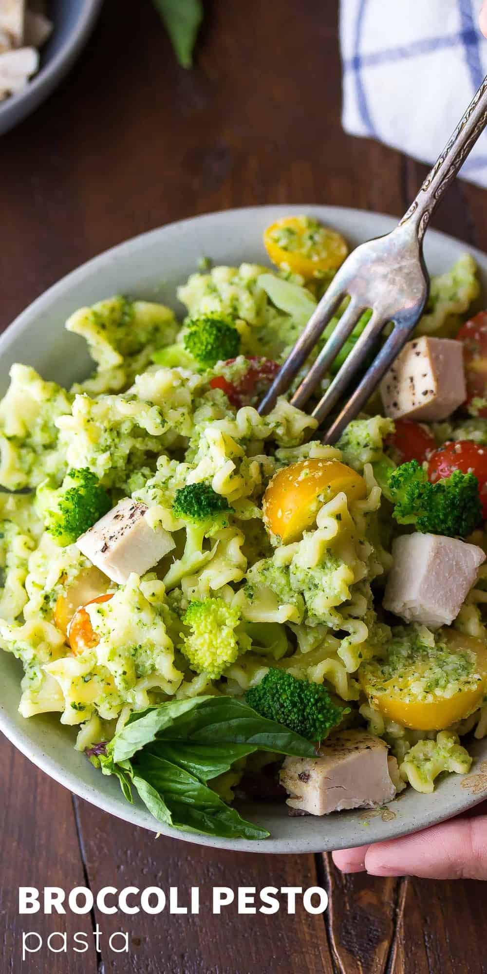 Almond Broccoli Pesto Pasta Recipe with Chicken, an easy, healthy 30 minute dinner recipe!