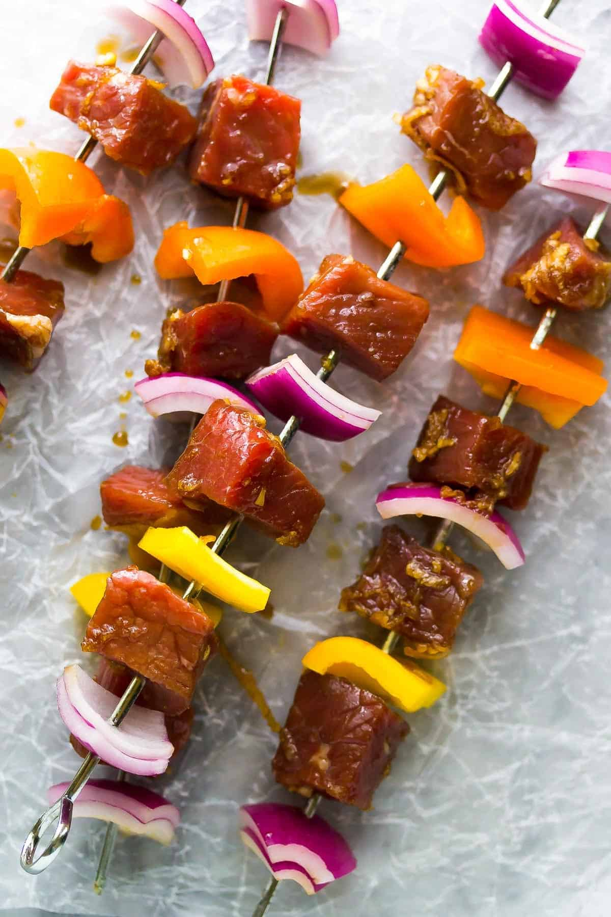 Korean Beef Skewers (Beef Bulgogi).  A simple dinner recipe that is packed full of flavor!