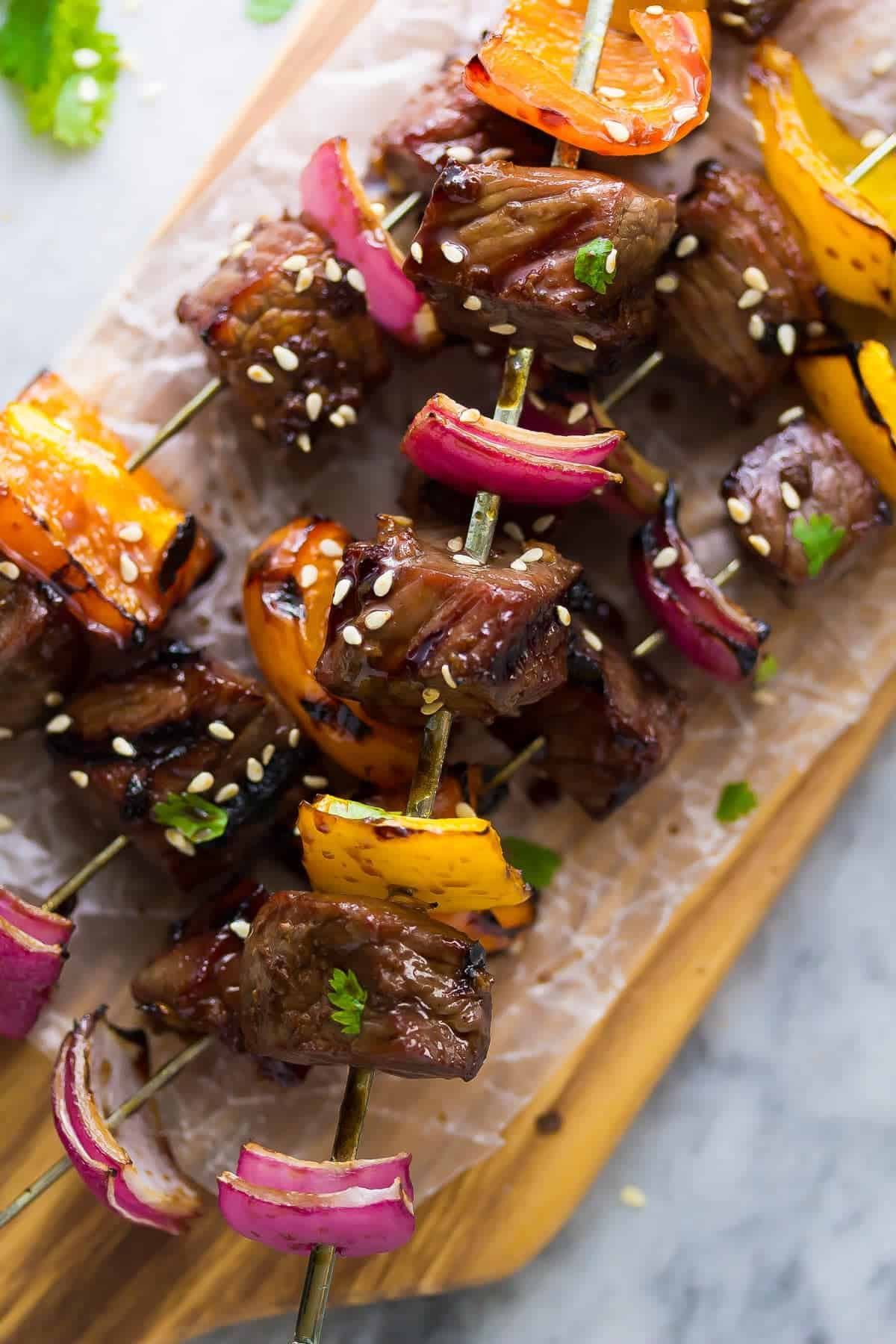 Grilled Korean Beef Skewers on parchment paper