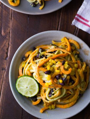 Sweet Potato Noodles with Black Beans and Creamy Avocado Sauce