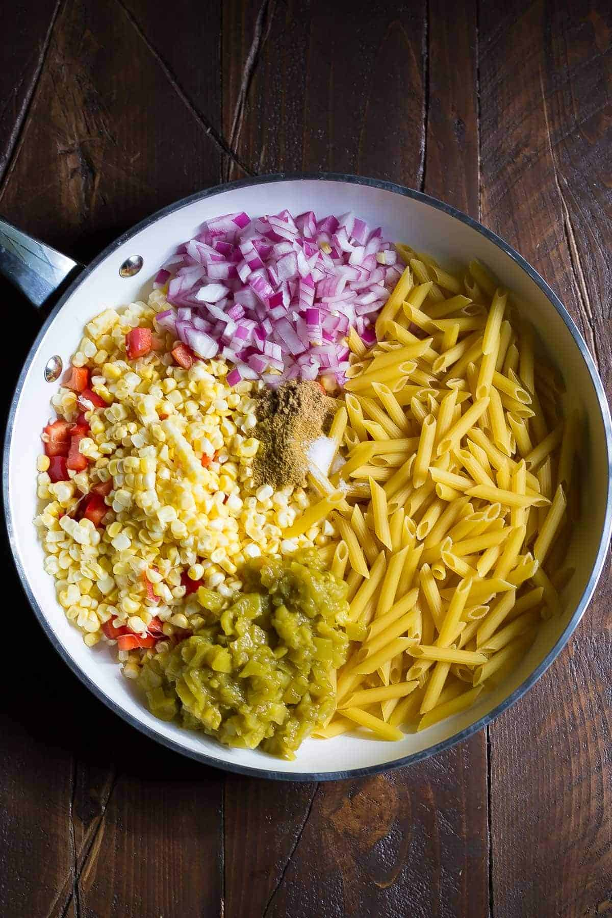 Summer Carbonara with Corn & Chiles, a 30-minute, one pan dinner recipe!