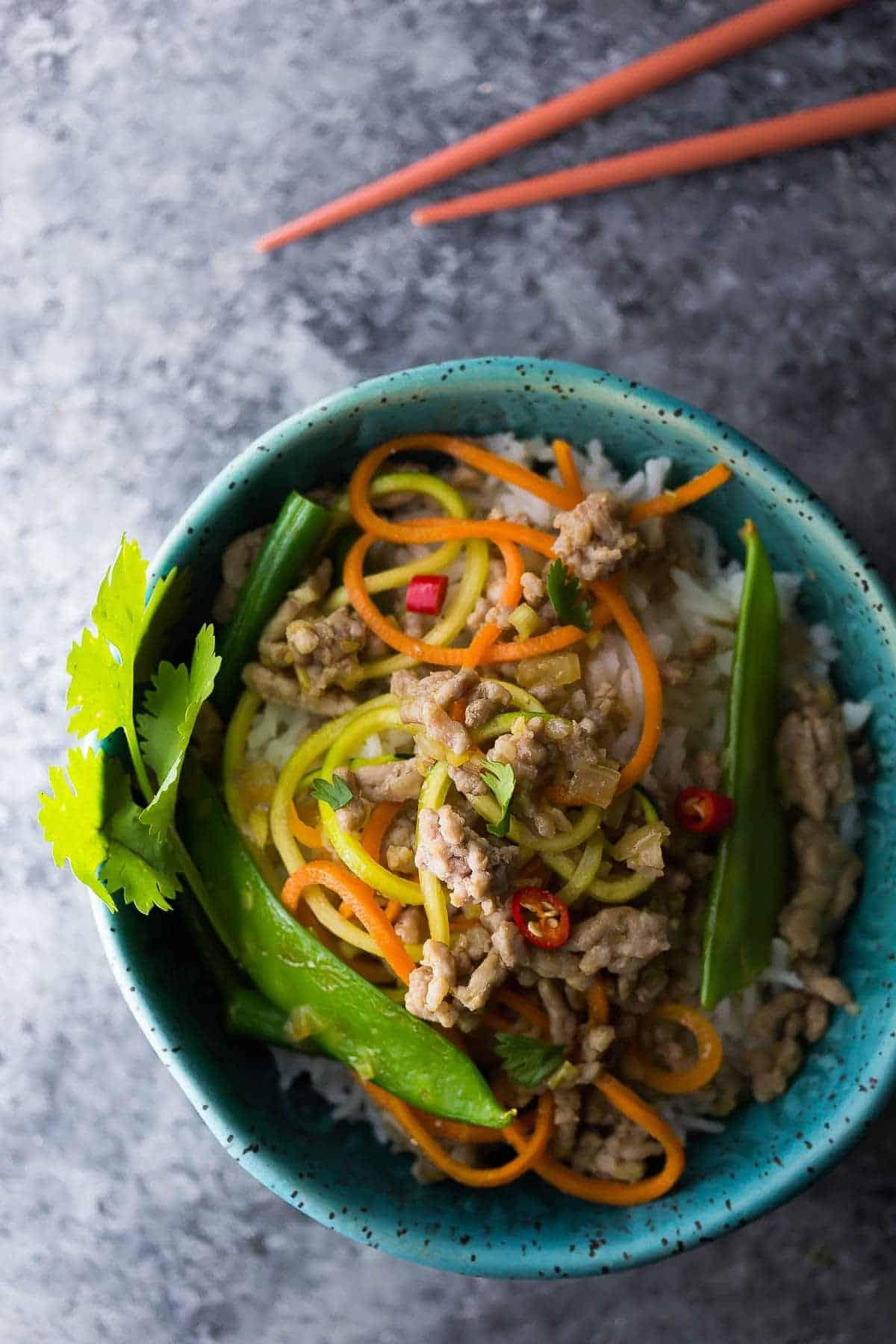 Lemongrass Thai Ground Pork Stir Fry in a blue bowl