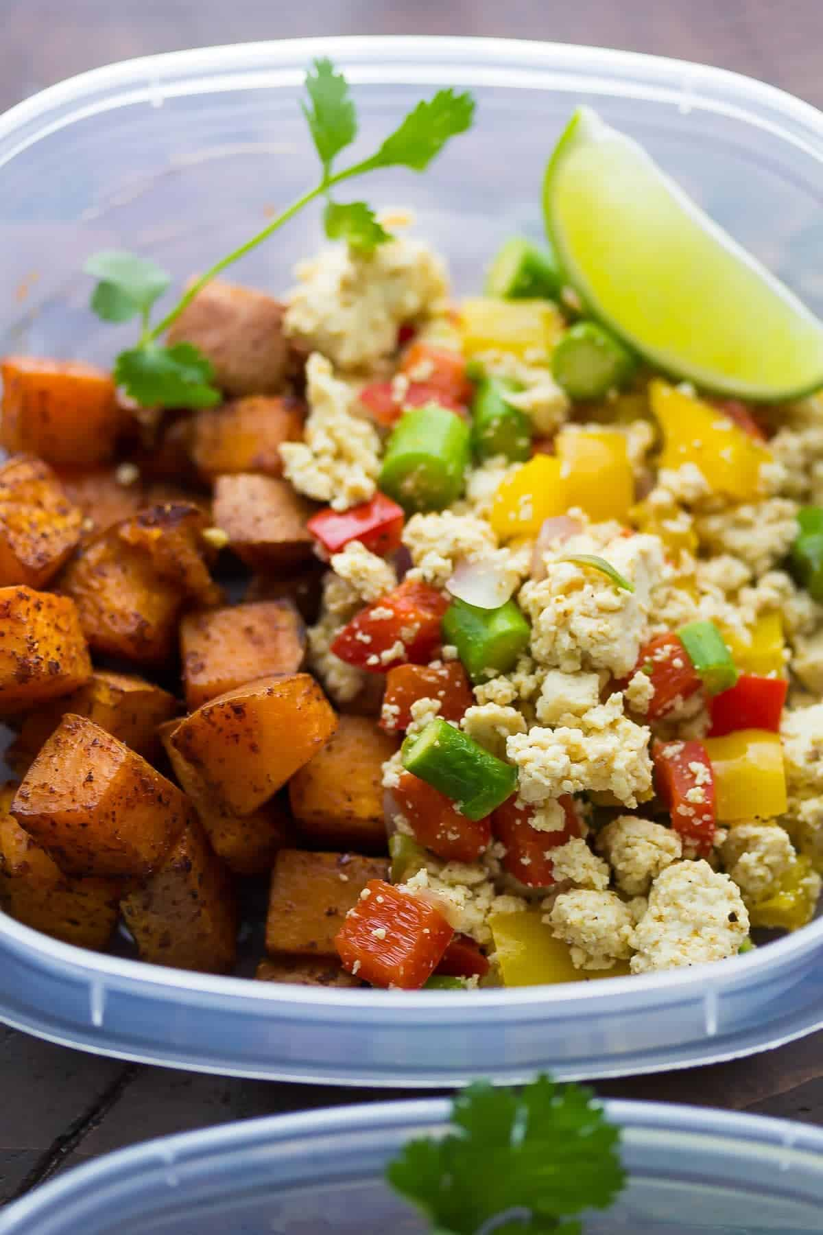 Tofu Scramble & Breakfast Sweet Potatoes (Make Ahead)