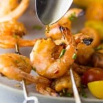 chipotle grilled shrimp with maple glaze on skewers