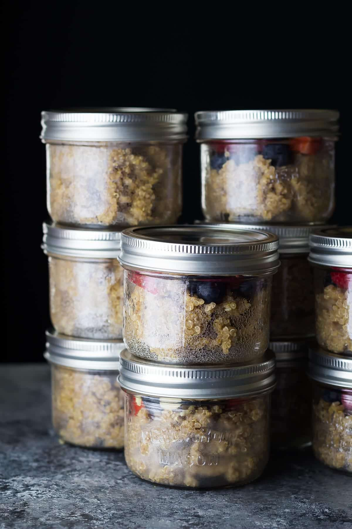 Berry Breakfast Quinoa Meal Prep in jars, stacked