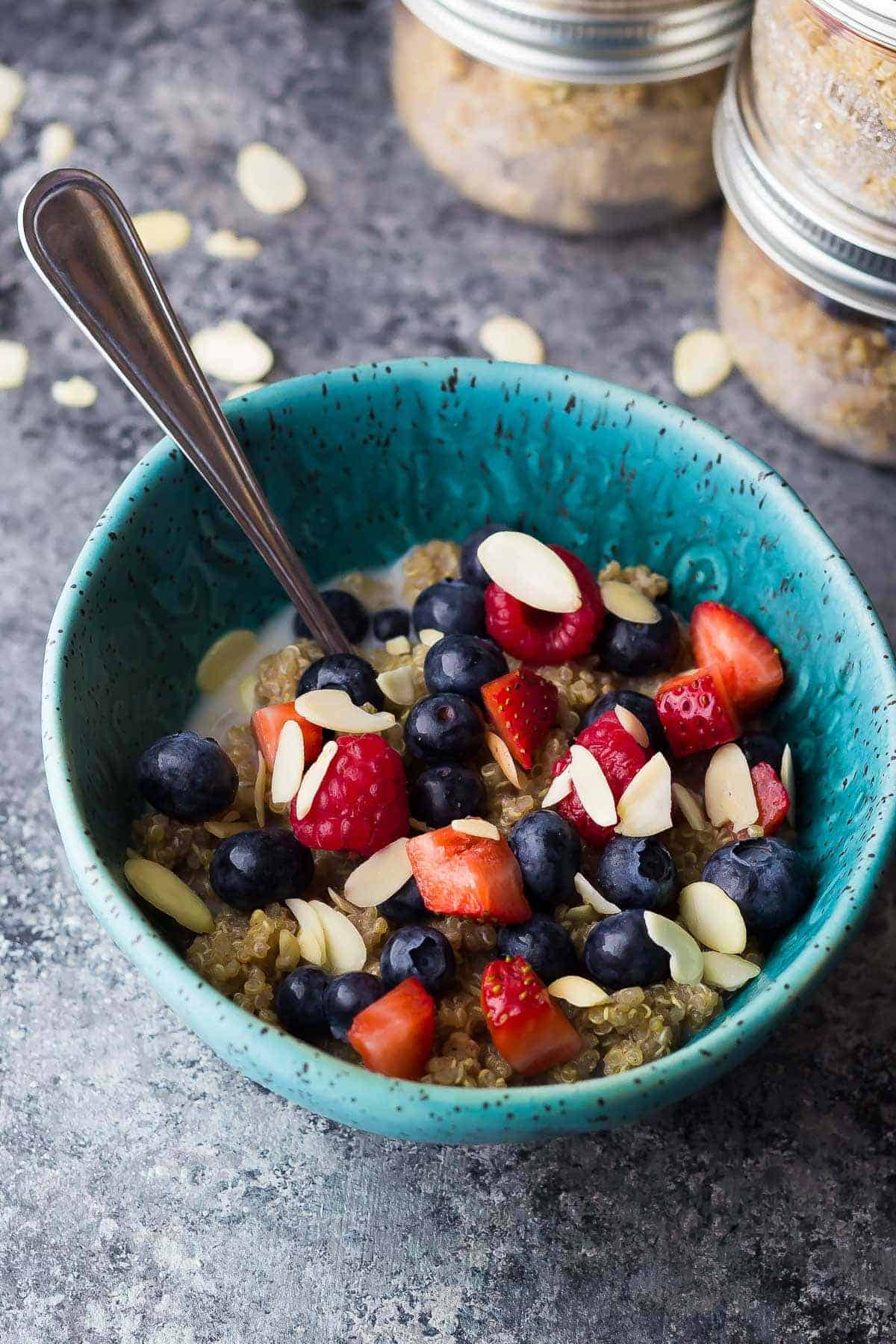 Berry Almond Breakfast Quinoa (Make Ahead)