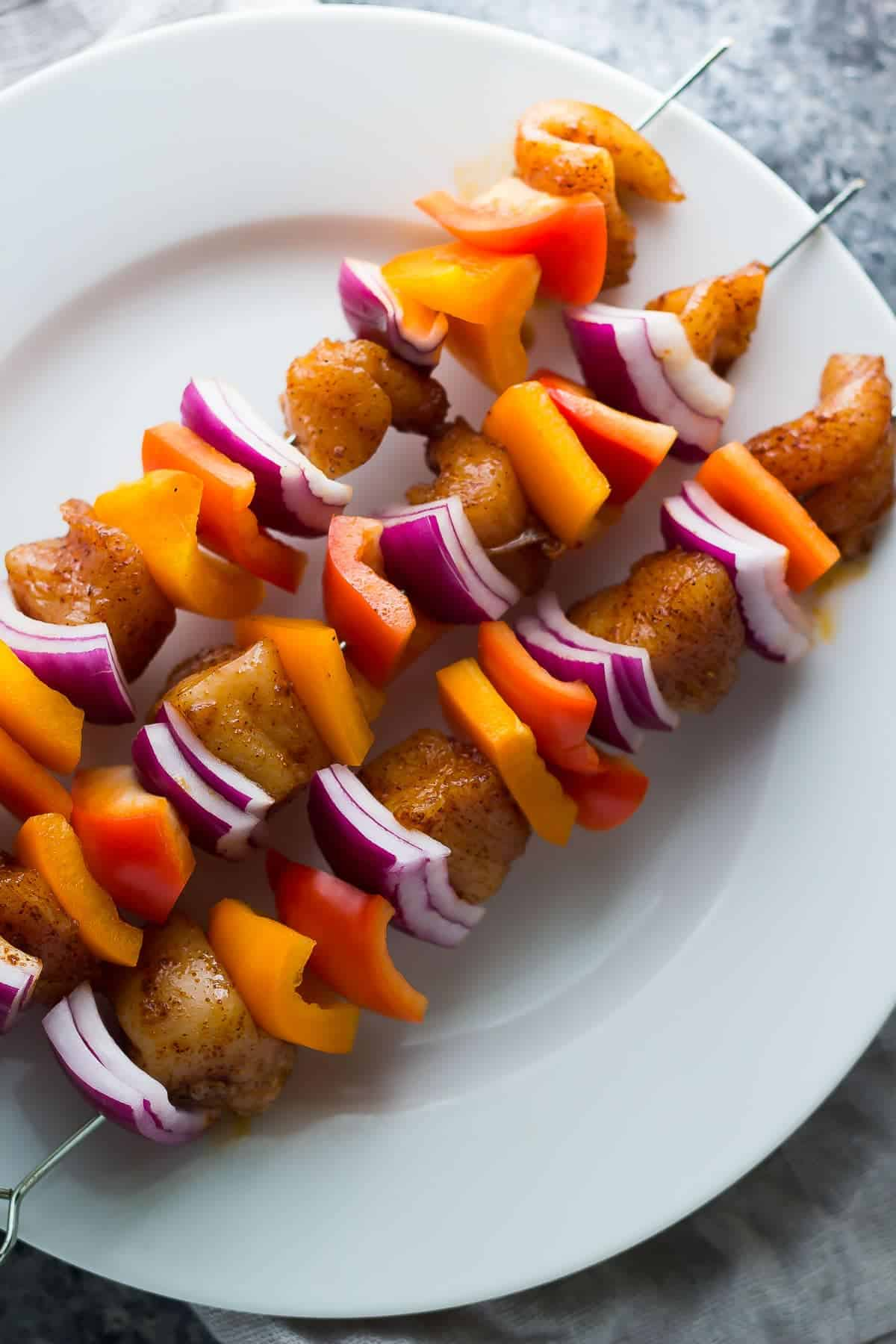 Chili Lime Chicken Skewers with Mango Sauce, an easy dinner recipe ready in 30 minutes