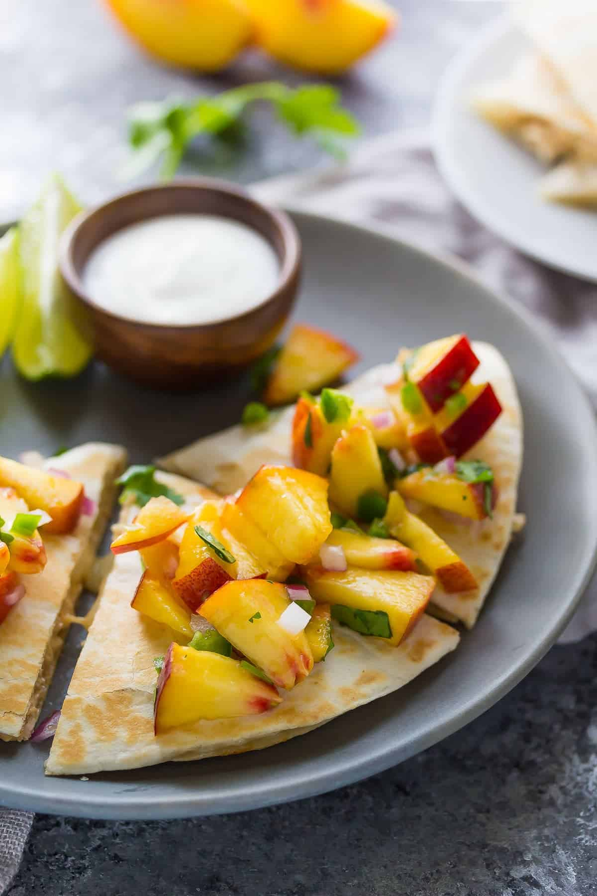 Sweet Chili Chicken Quesadillas with Peach Salsa