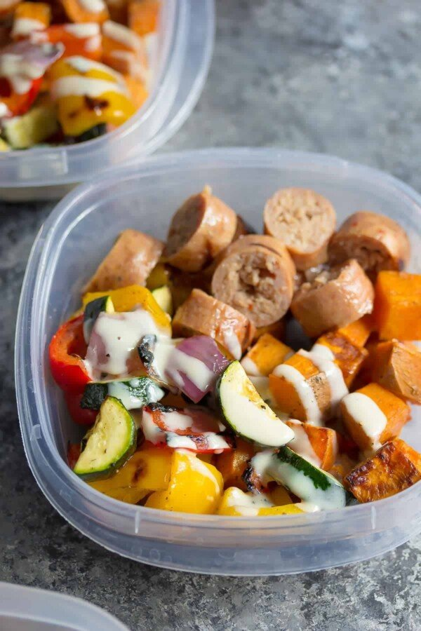 turkey sausage sweet potato lunch bowl in meal prep container