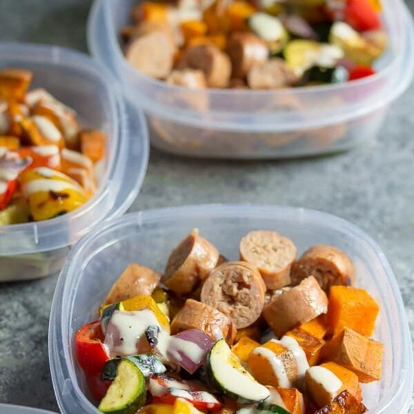 turkey sausage sweet potato lunch bowl in three meal prep containers