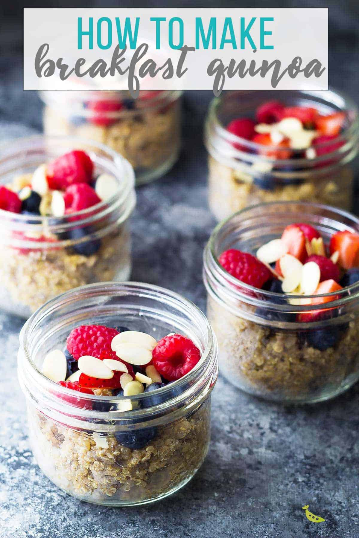Berry quinoa breakfast meal prep is a great alternative to oatmeal! Simple and delicious with chewy quinoa, crunchy almonds and sweet berries. Gluten-free, vegan, clean eating, and prepped in under 30 minutes! #sweetpeasandsaffron #mealprep #glutenfree #quinoa #breakfast #vegan #cleaneating #berries #strawberries #blueberries #almonds