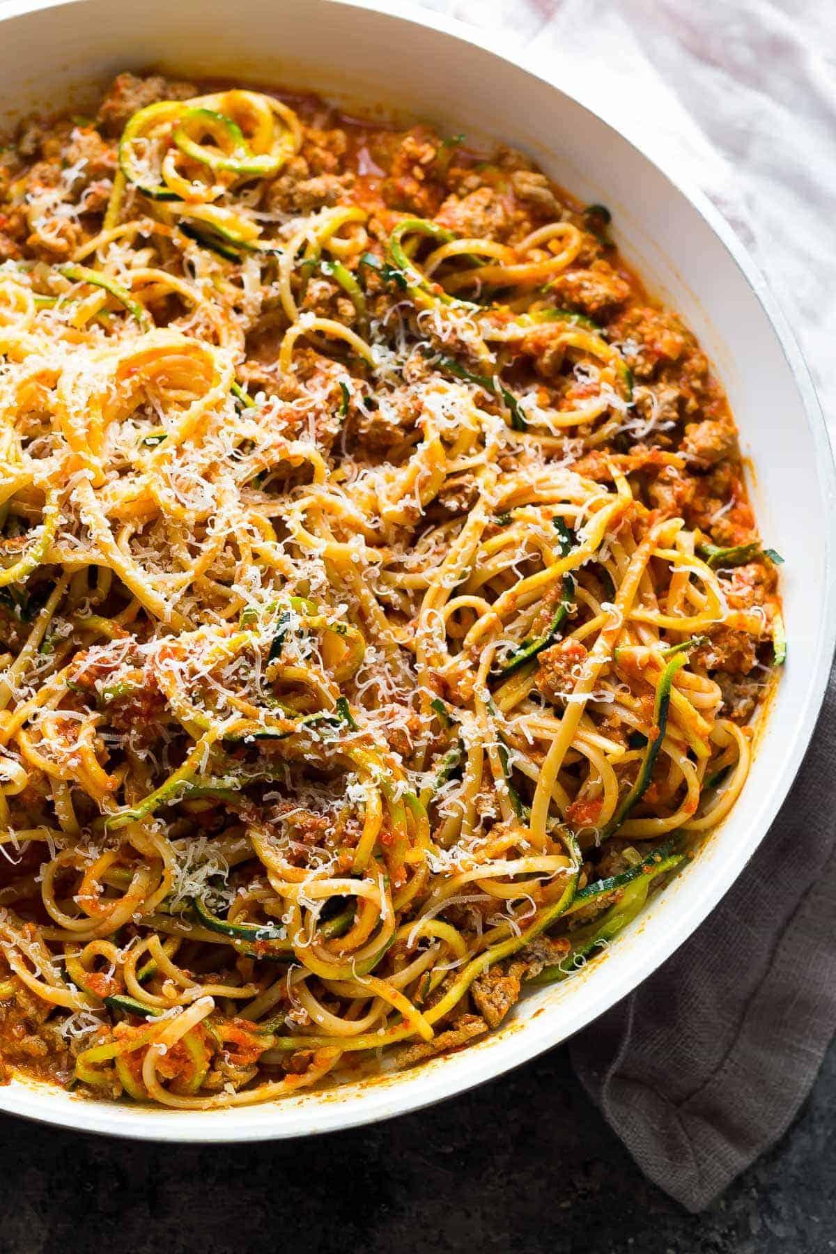 Ground Turkey Pasta in Romesco Sauce