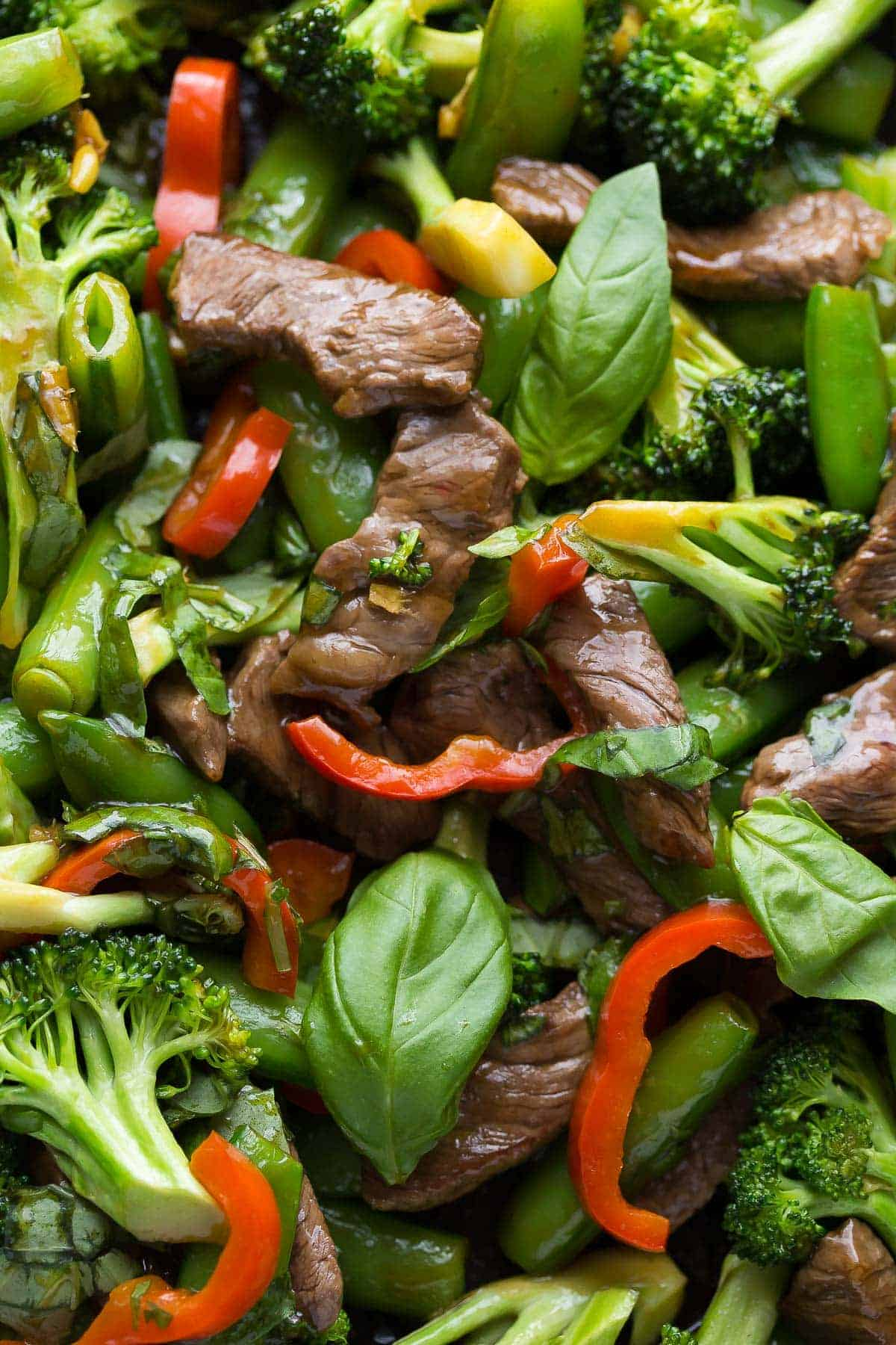 close up view of thai basil beef