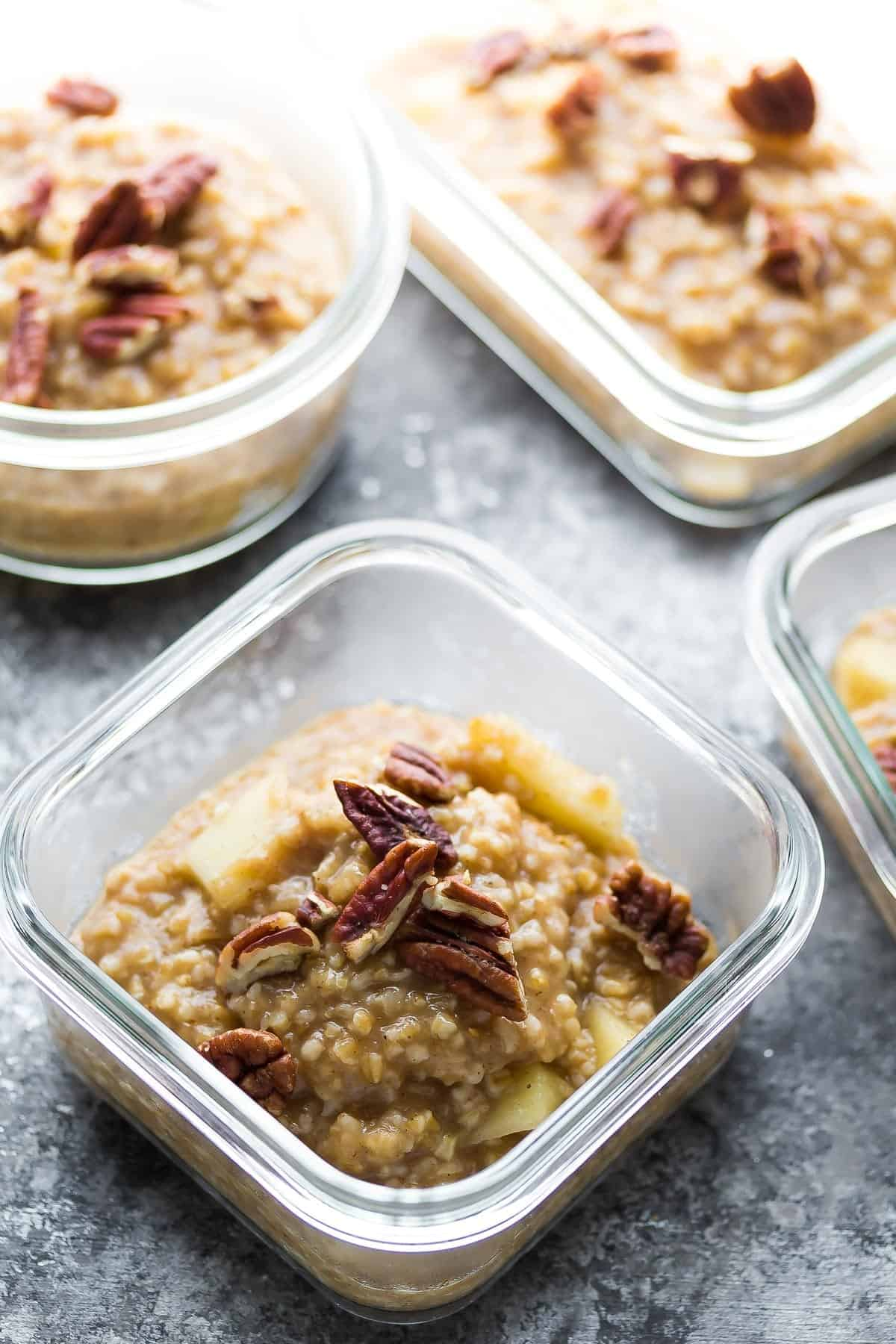 Maple Apple Steel Cut Oats in meal prep containers