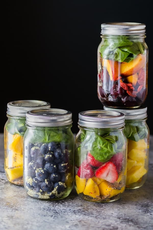 Time Saving Healthy Breakfast Recipes; smoothie packs ingredients in mason jars