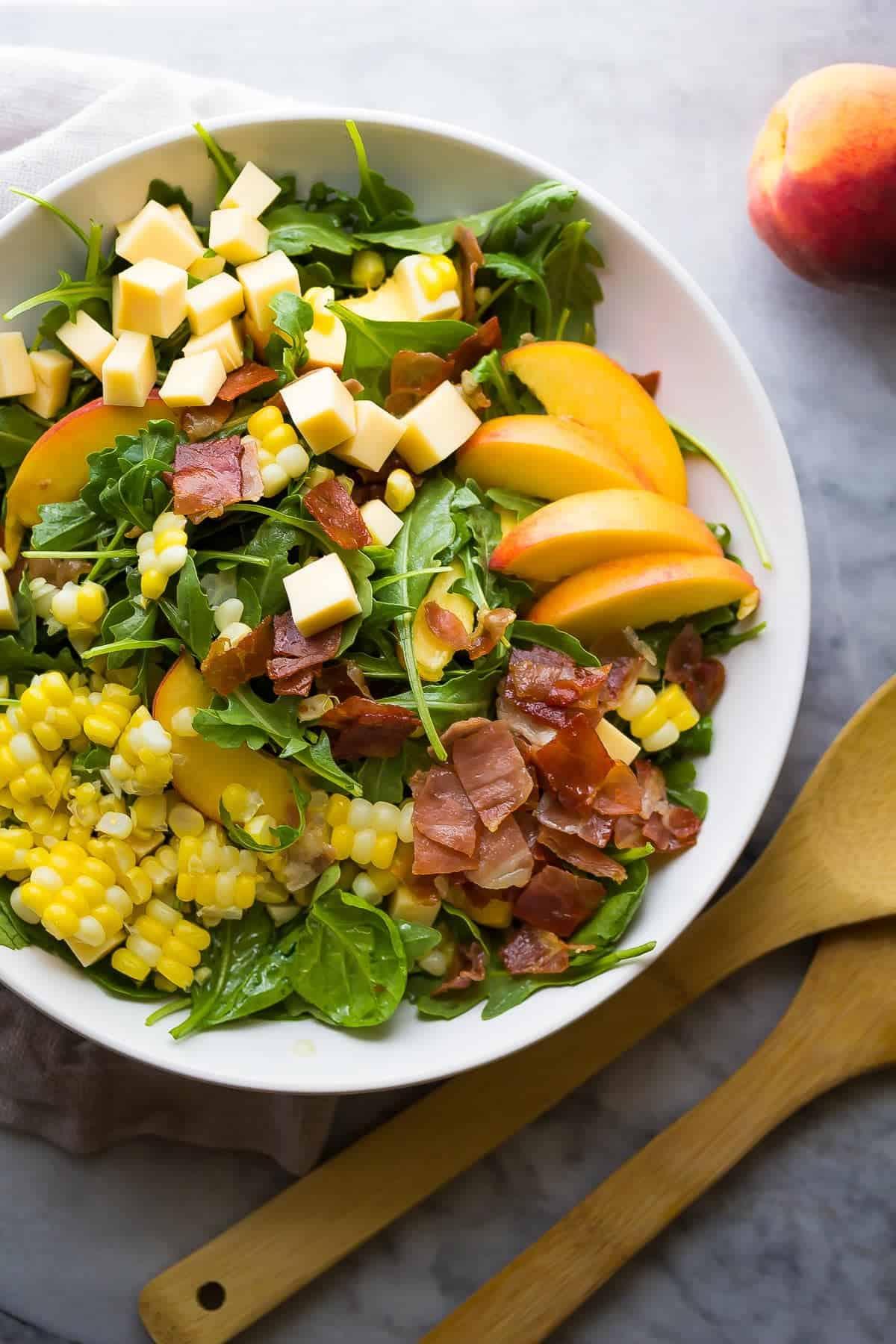 Corn and Peach Salad Recipe with Crispy Prosciutto and Smoked Gouda