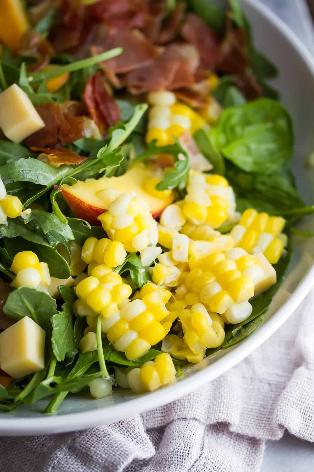 Corn and Peach Salad- close up of corn