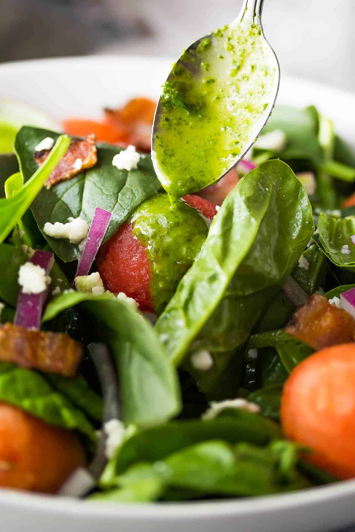 Bacon and Watermelon Spinach Salad with Basil Vinaigrette