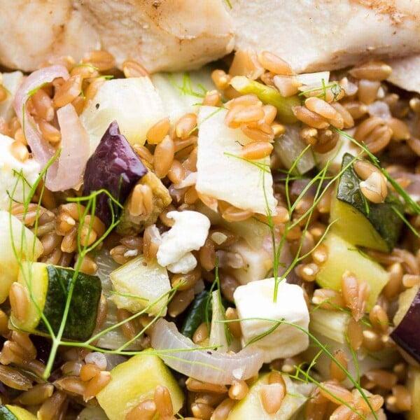 Close up of Mediterranean chicken farro lunch bowl