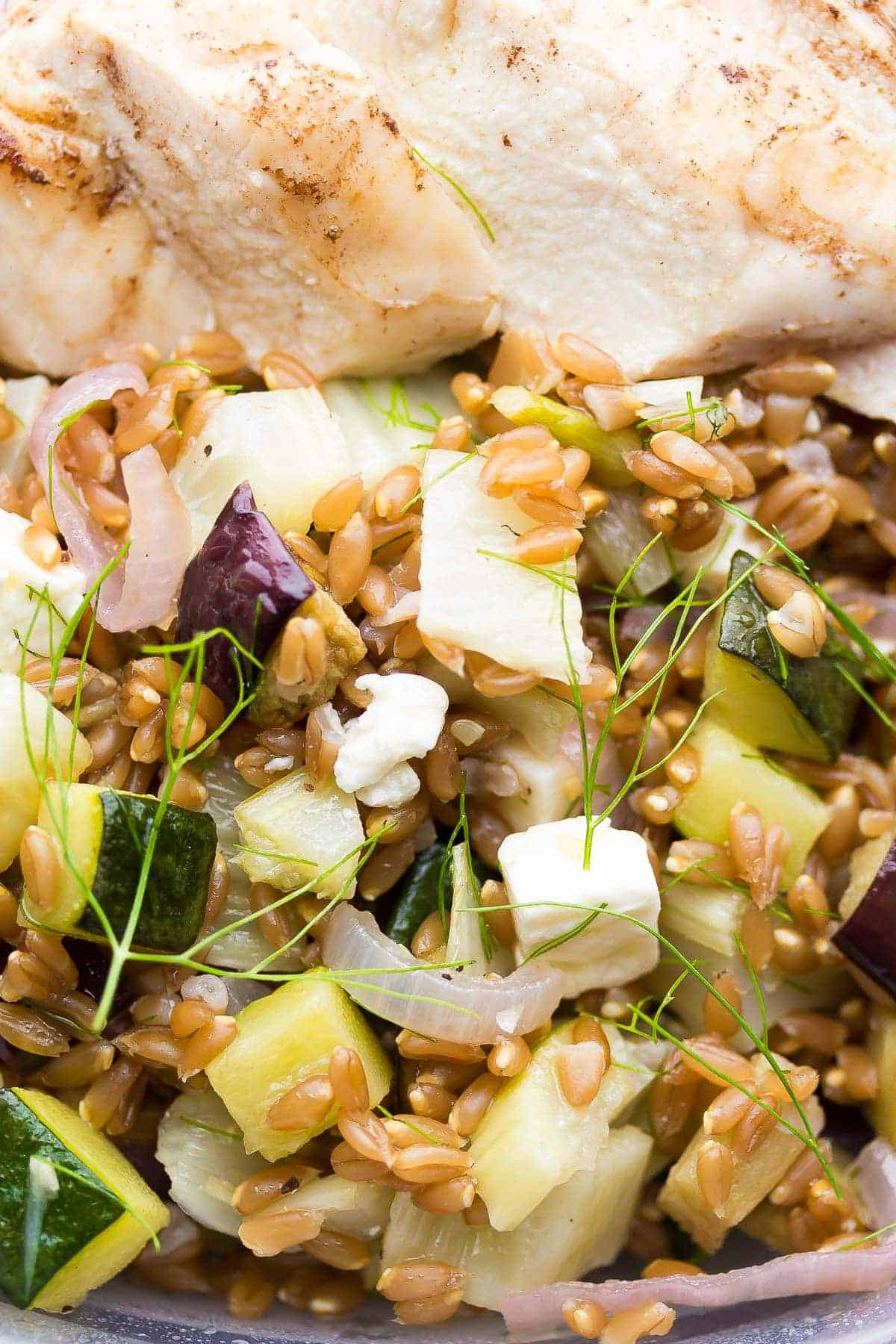 Mediterranean Farro Chicken Lunch Bowl Recipe, make a big batch on the weekend and you'll have 4 work lunches ready