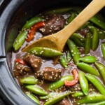 sesame ginger beef with snap peas in slow cooker