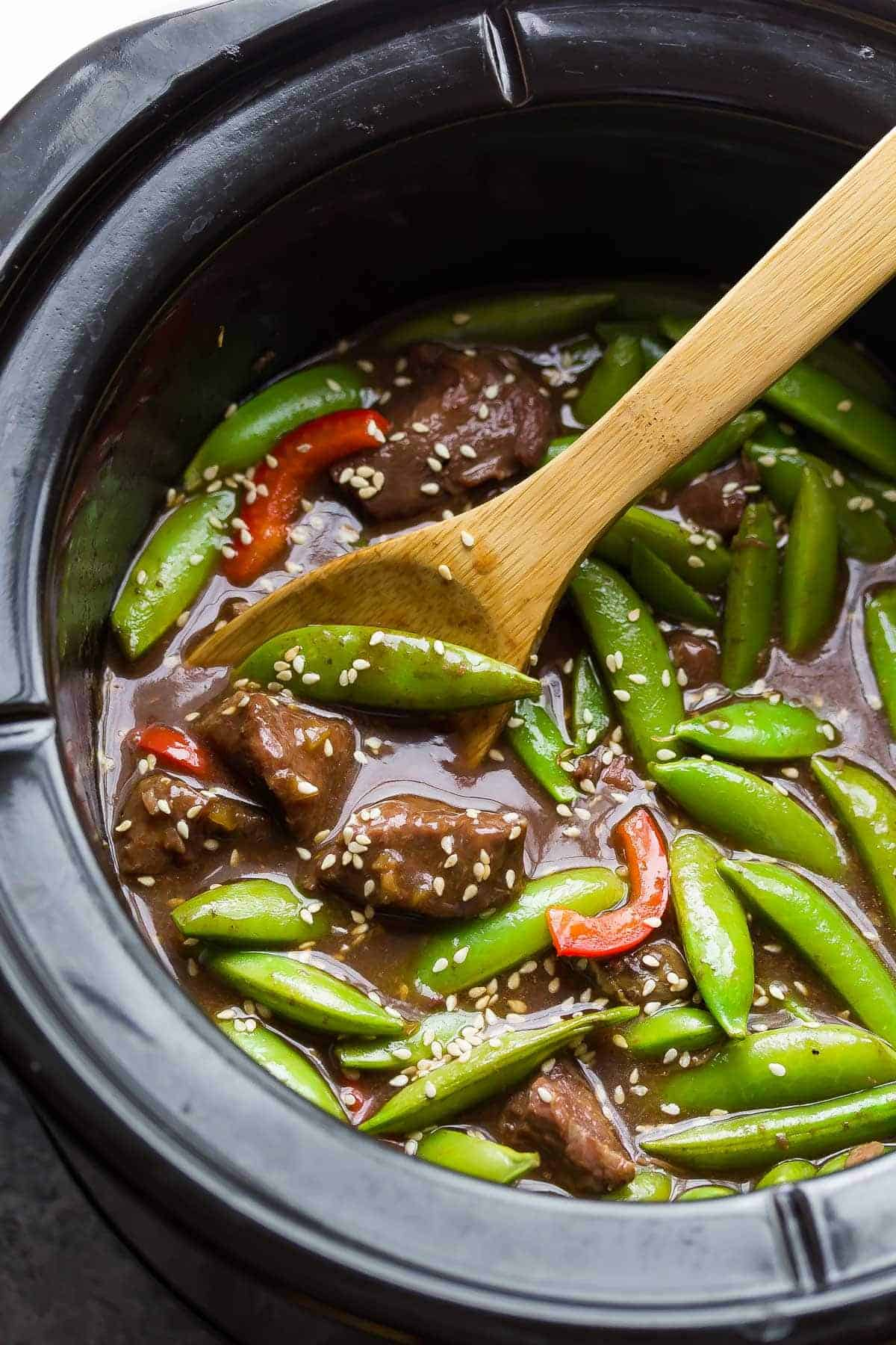 Slow Cooker Sesame Ginger Beef with Snap Peas
