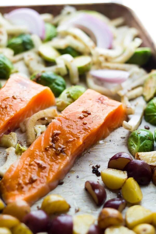 close up shot of mediterranean salmon sheet pan dinner
