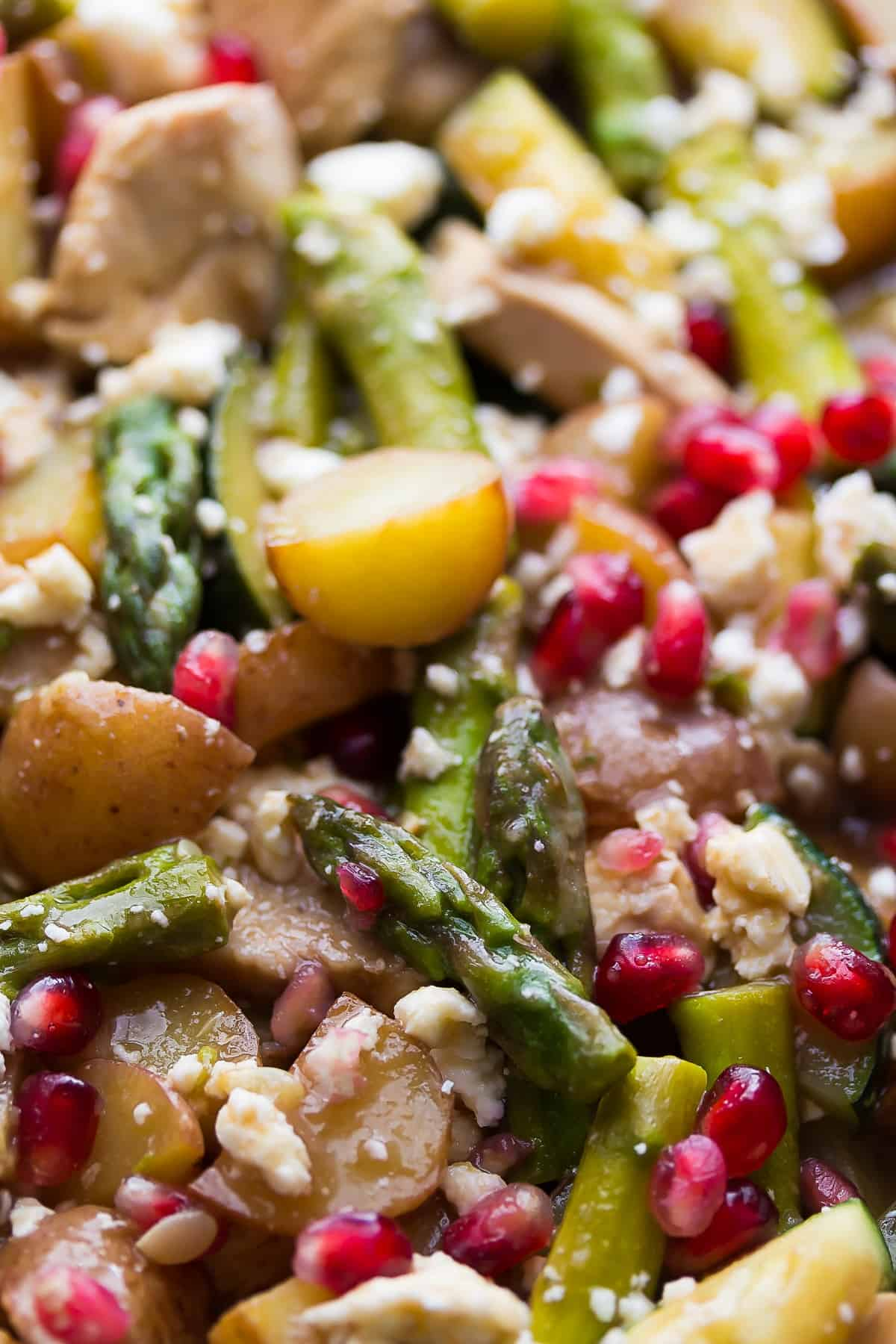 Healthy Balsamic Chicken Skillet with Pomegranates and Feta, a 30 minute, one pot dinner recipe perfect for weeknights!