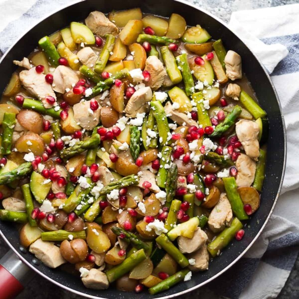 overhead shot of skillet with balsamic one pan chicken and veggies