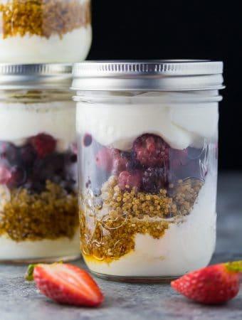 High Protein Berry Yogurt Parfaits (Make Ahead)