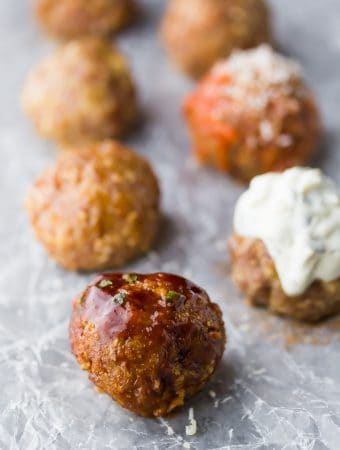Healthy Baked Turkey Meatballs 7 Ways (Freezer-Friendly)