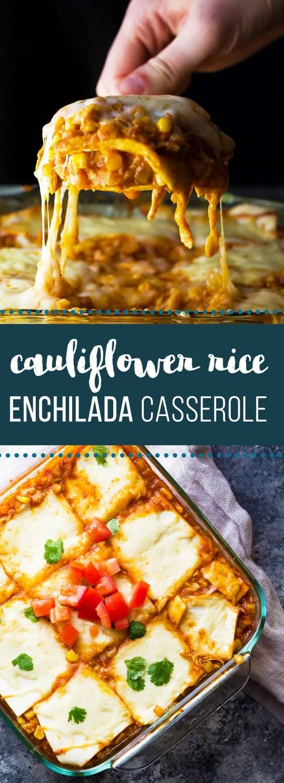 Cauliflower Rice Chicken Enchilada Casserole is a lower carb version of a favorite comfort food! Just six simple ingredients required to make this easy family dinner! Leftovers would make a great work lunch too! #casserole #cauliflowerrice #lowcarb #chicken #healthy #sweetpeasandsaffron