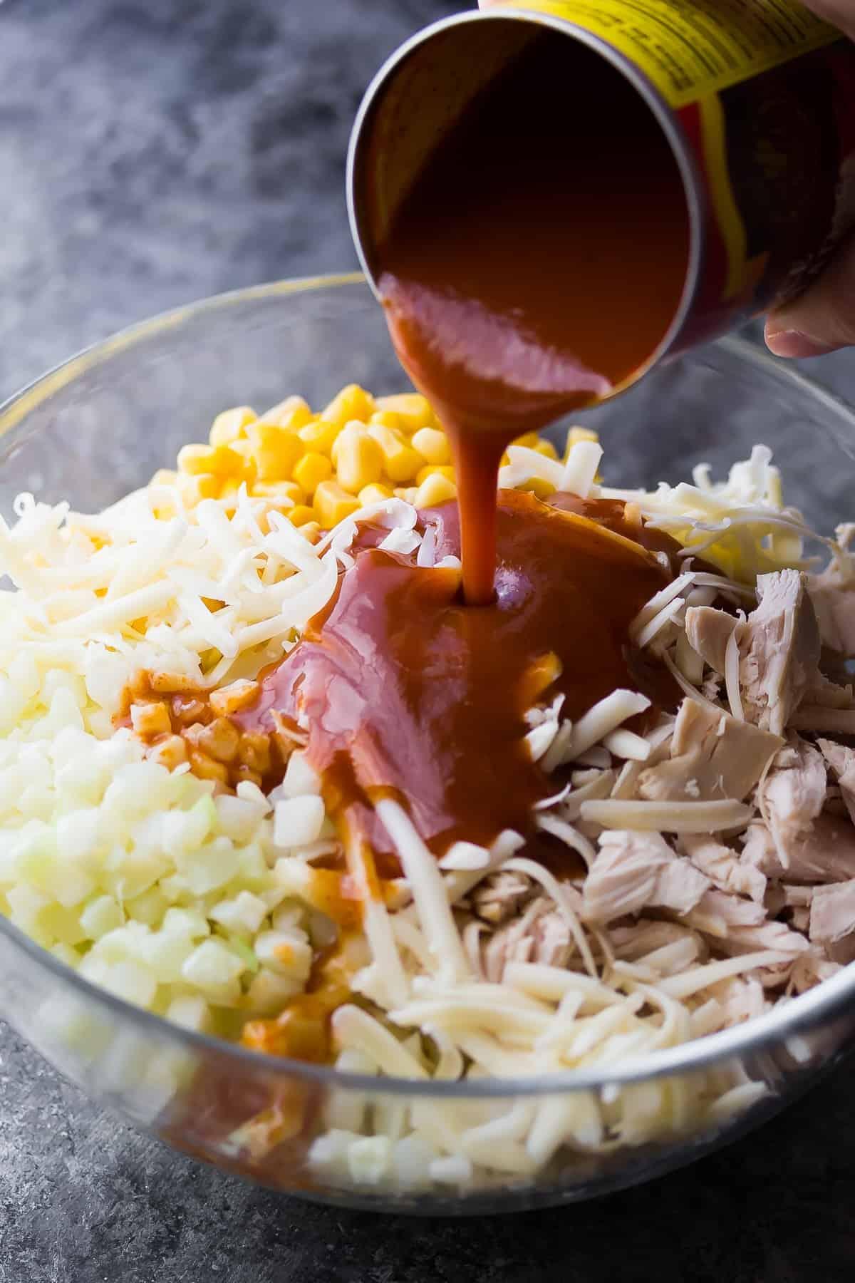 Cauliflower Rice Chicken Enchilada Casserole