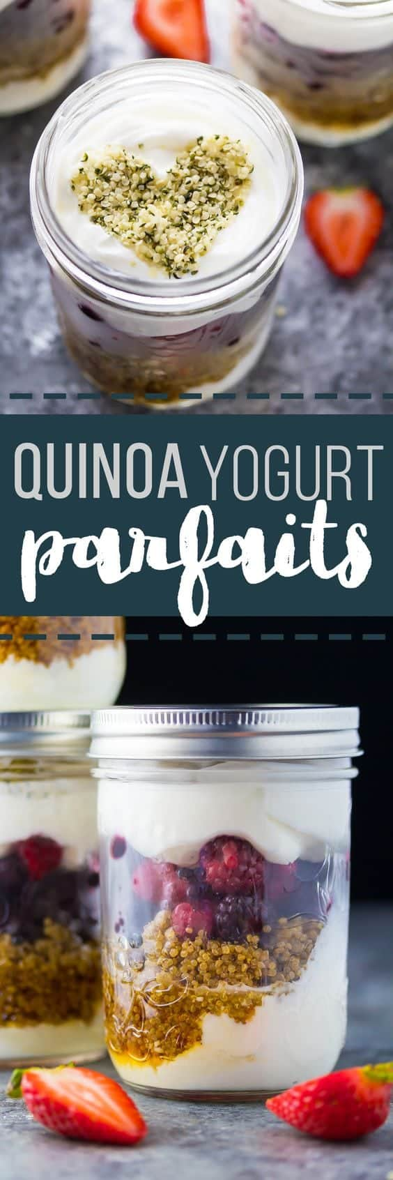 These easy meal prep berry yogurt parfaits are packed full of protein thanks to greek yogurt and a scoop of quinoa! Make up to 4 days ahead of time for a quick healthy breakfast or snack.  #mealprep #sweetpeasandsaffron #snack #breakfast #protein #healthy