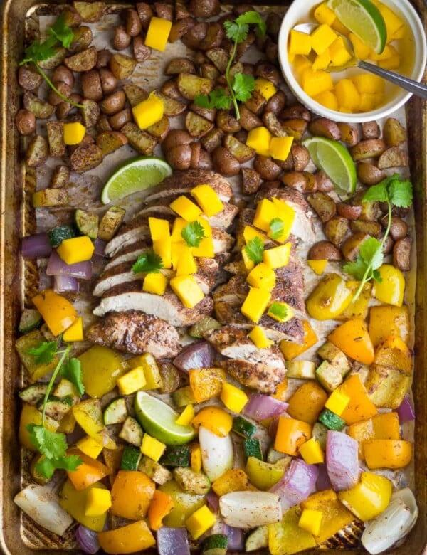overhead shot of jamaican chicken sheet pan dinner