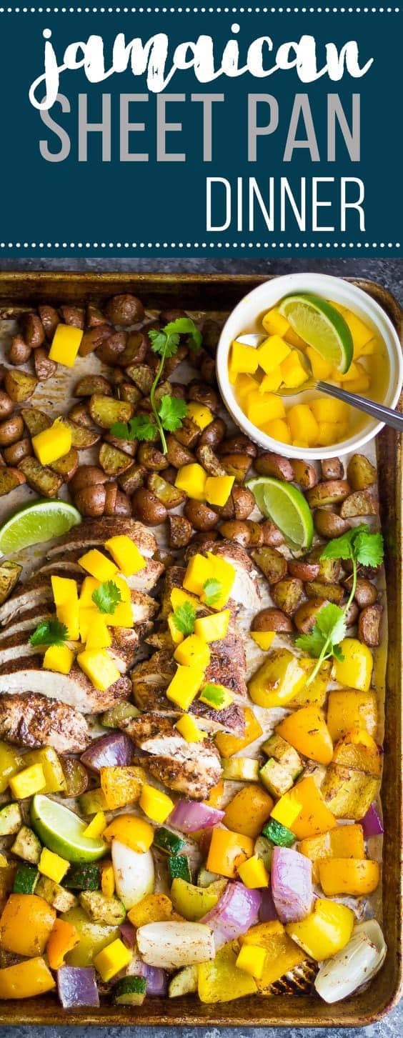 This healthy Jamaican chicken sheet pan dinner bakes up with bell peppers, onions and potatoes in a spicy Jamaican spice rub in under 30 minutes. Topped with fresh mango making this a family favorite dinner that is quick and easy!  #mealprep #sweetpeasandsaffron #30minutemeals #healthy #chicken