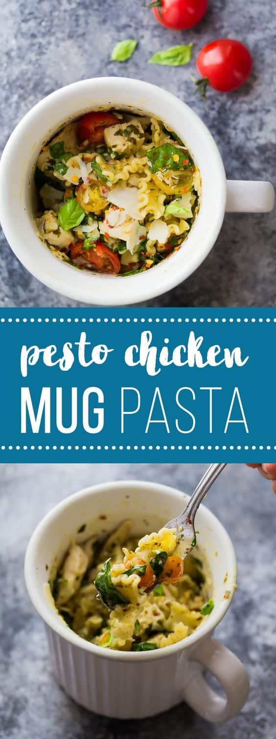 This Pesto Chicken Mug Pasta cooks in the microwave in just 10 minutes! The perfect dinner for one, dorm room meal, or lunch on the go! A healthy, easy, and quick work lunch option!  #pasta #dormfood #lunch #mealprep #sweetpeasandsaffron