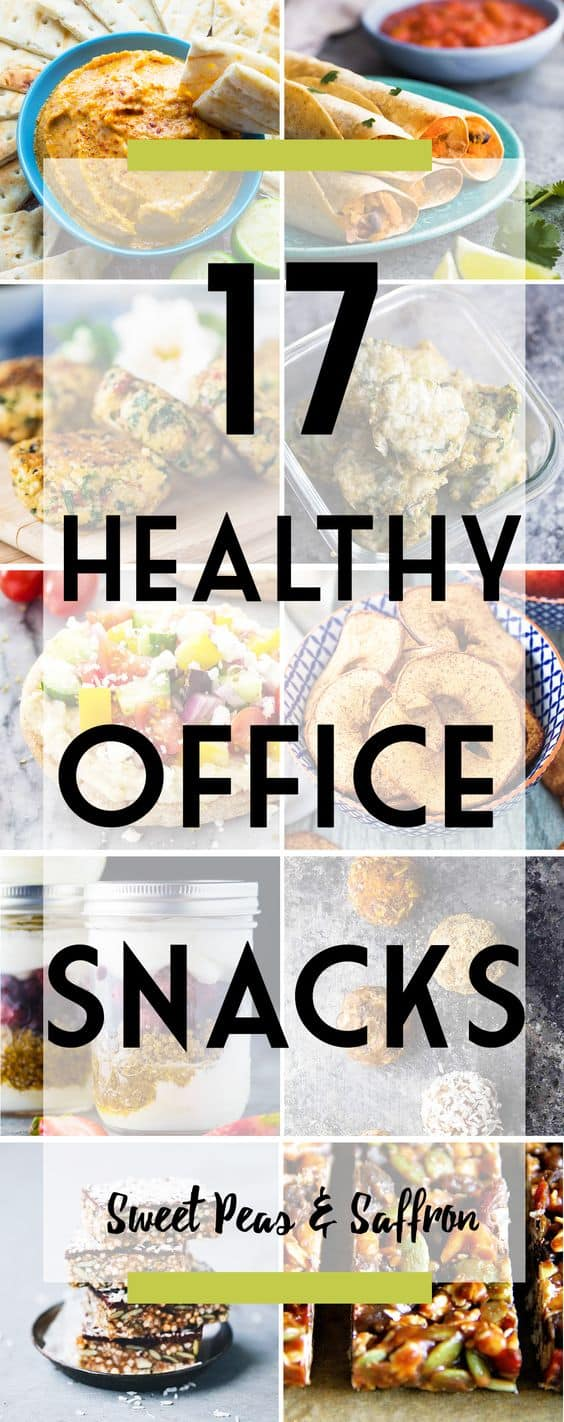 These healthy office snacks will keep you going in the afternoon while keeping things light. Tons of easy portable recipe ideas, and perfect for prepping on meal prep Sunday! They are great to share when you take them to work!  #sweetpeasandsaffron #mealprep #healthy #snack #homemade