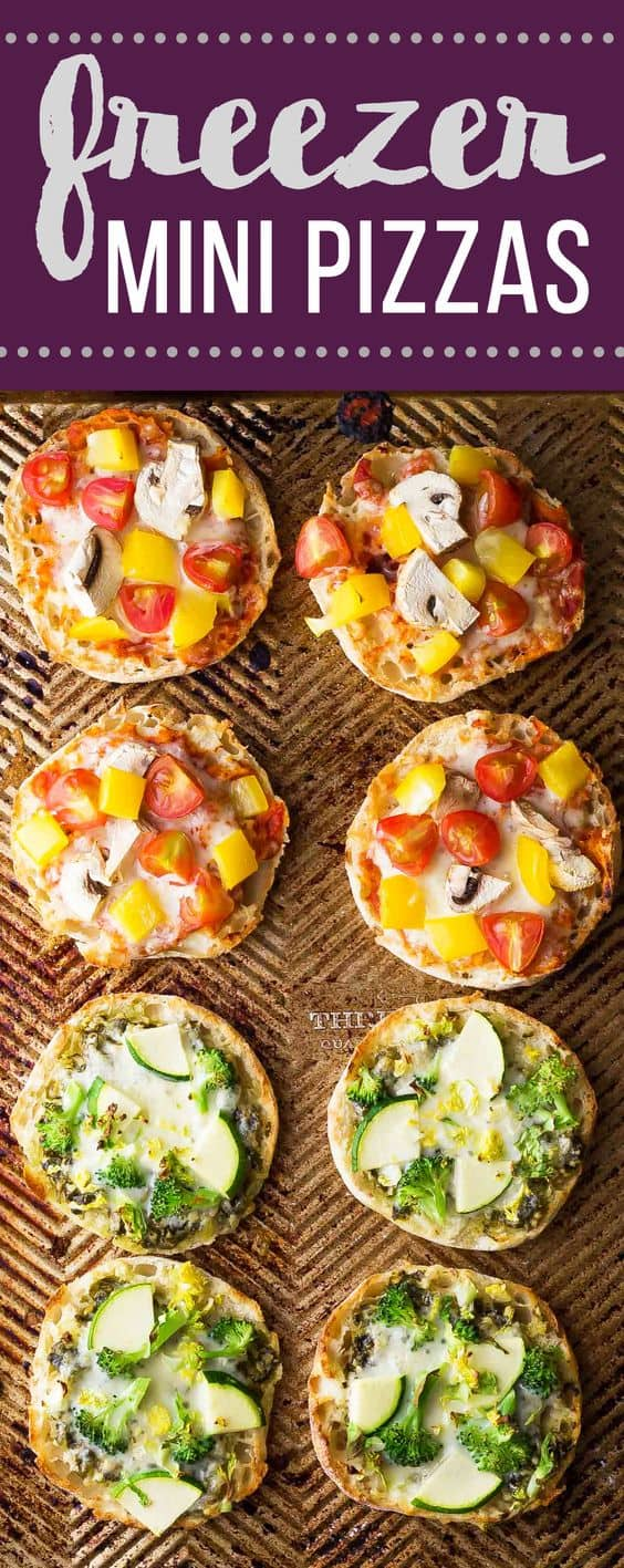 Make a batch of these freezer mini pizzas and stash them in your freezer for a healthy grab and go snack. Perfect for a work lunch or school lunch for the kids! Two recipes are shown: green goddess and red sauce pizzas.  #mealprep #freezer #pizza #snack #sweetpeasandsaffron