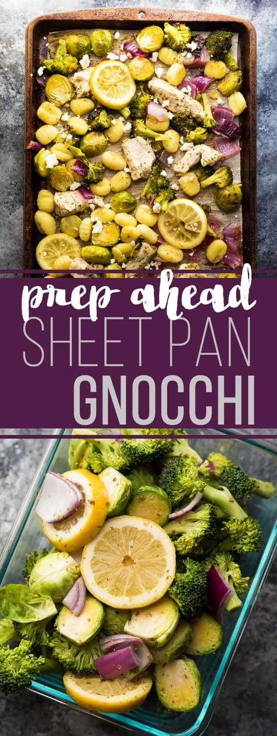 Make Ahead Lemon Chicken Sheet Pan Gnocchi - assemble ahead and stash in the fridge for up to 3 days...a great meal prep dinner to add to your routine making dinner easy! #mealprep #sheetpan #chicken #gnocchi #dinner #sweetpeasandsaffron