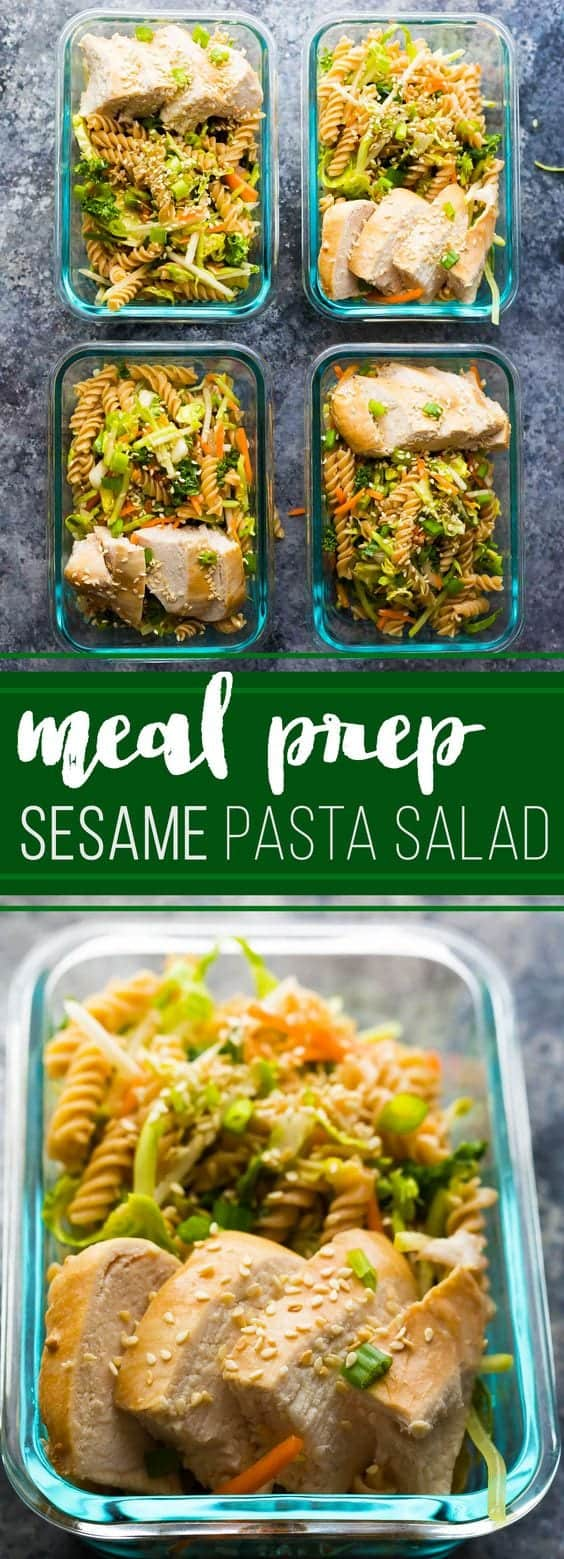 Spend 30 minutes doing some meal prep and you'll have FOUR Sesame Chicken Pasta Salads ready to go for your work lunch this week! #mealprep #salad #pastasalad #chickenbreast #healthy #lunch #sweetpeasandsaffron