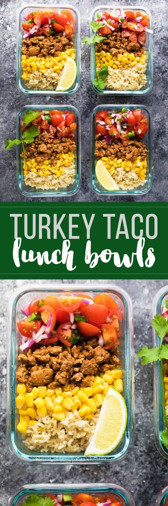 Make these turkey taco lunch bowls on the weekend and you'll have four healthy, delicious and filling lunches ready for the work week! They are a great make ahead lunch that you can eat cold making for an easy and healthy lunch! 
