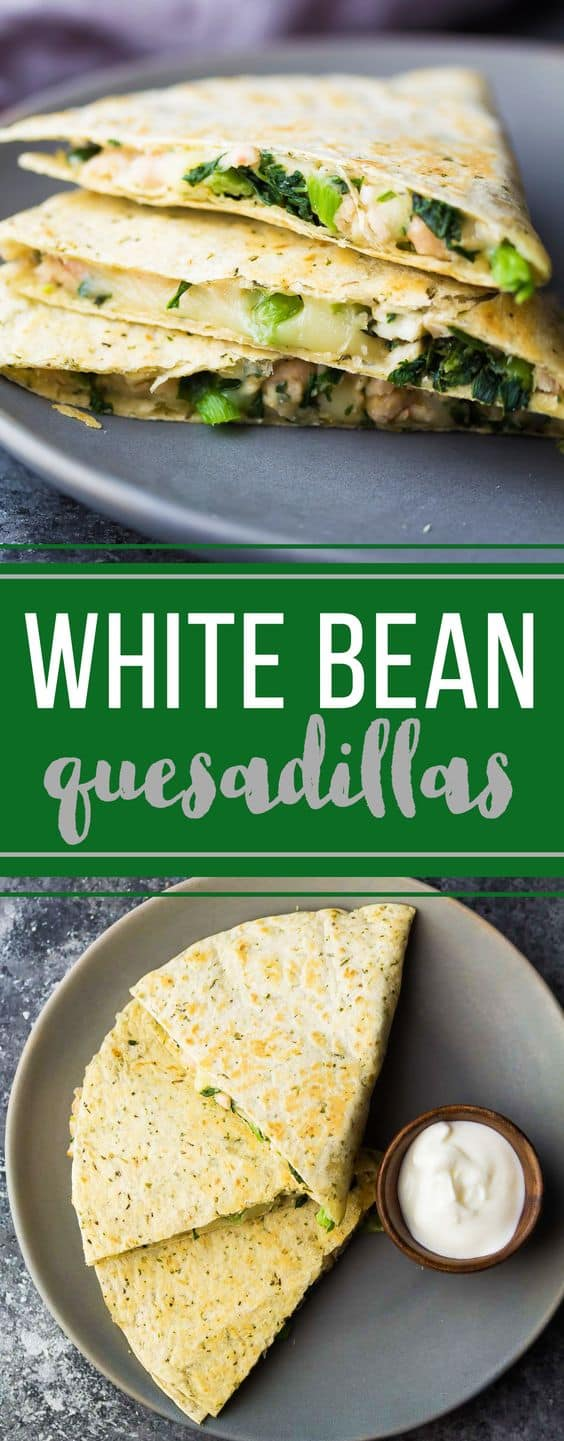 Make these smashed white bean and spinach quesadillas ahead and stash them in the freezer for a healthy grab and go lunch! Great healthy meal prep option for work lunch or for the kids. #sweetpeasandsaffron #mealprep #vegetarian #quesadilla #freezermeal
