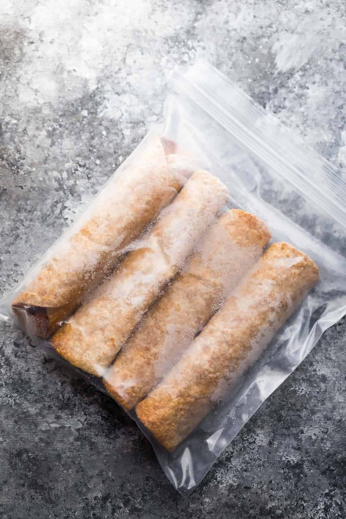 storing the baked taquitos in a ziplock bag to freeze