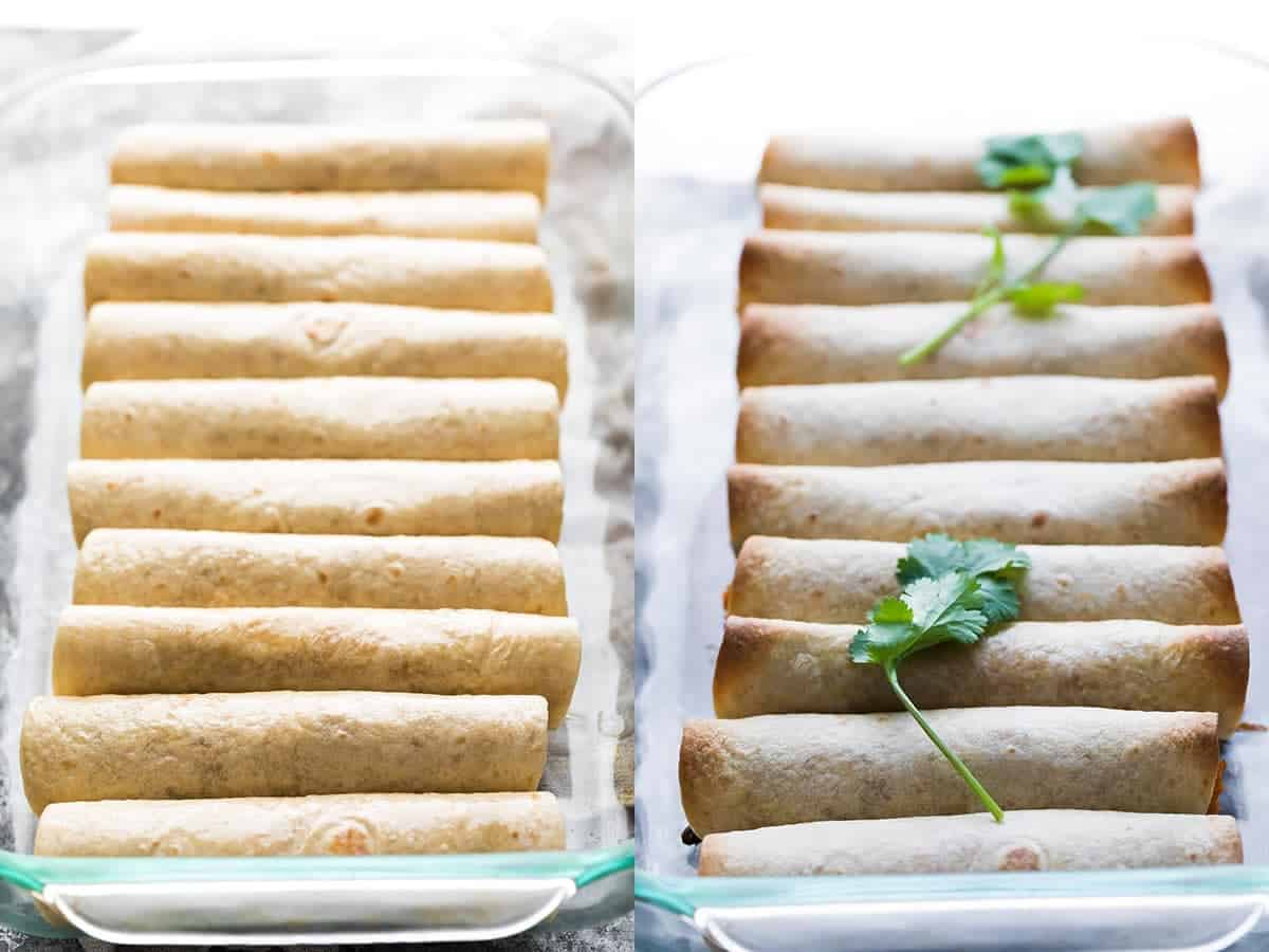 before and after shot of homemade taquitos baked in 9 x 13 inch dish